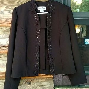 Brown blazer with sequins and beads trim. Size 8.